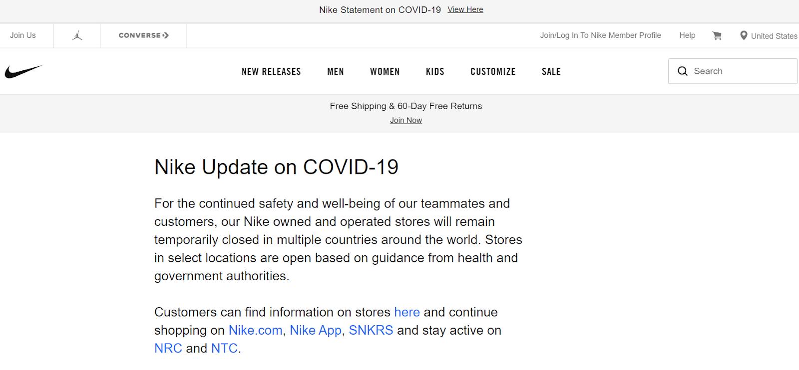 nike update on covid-19